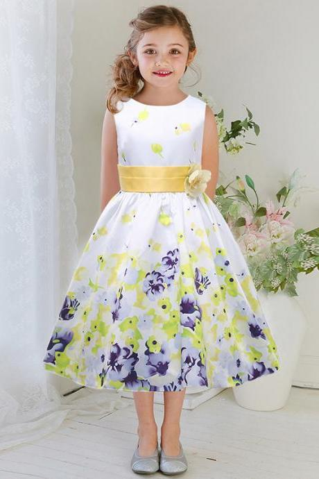 Flower Girl Dresses Flower children's clothes,Children's clothes, spring/summer 2017 girls beautifully printed dress, wedding flower girl dress princess dress wedding flower children's clothes, bowknot flower children's clothes, beads girl's skirt