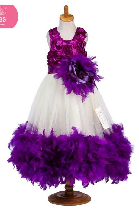 Flower Girl Dresses Flower children's clothes,Wedding dress,2017 flower girl dress purple feather marriage girl dresses boutique children's wear evening dresses , wedding flower children's clothes, bowknot flower children's clothes, beads girl's skirt
