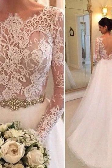 Wedding Dress,Tulle Wedding Dresses Crew Neck Sheer Long Sleeve Lace Accents Crystals Beading Bridal Gowns Wedding Gowns,Graduation Dresses,Wedding Guest Prom Gowns, Formal Occasion Dresses,Formal Dress