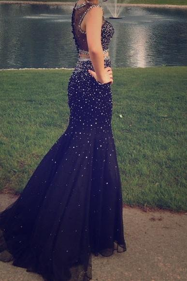 Beaded Prom Dresses,Beading Prom Dress,Black Prom Gown,2 Pieces Prom Gowns,Elegant Evening Dress,Two Piece Evening Gowns,2 Pieces Evening Gowns,A Line Prom Dress