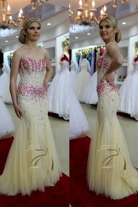 Champagne Prom Dresses,New Style Prom Gowns,Prom Dresses 2016,Beading Prom Dress,Prom Gown 2016,Tulle Prom Gown,Prom Dress,Sexy Prom Dresses