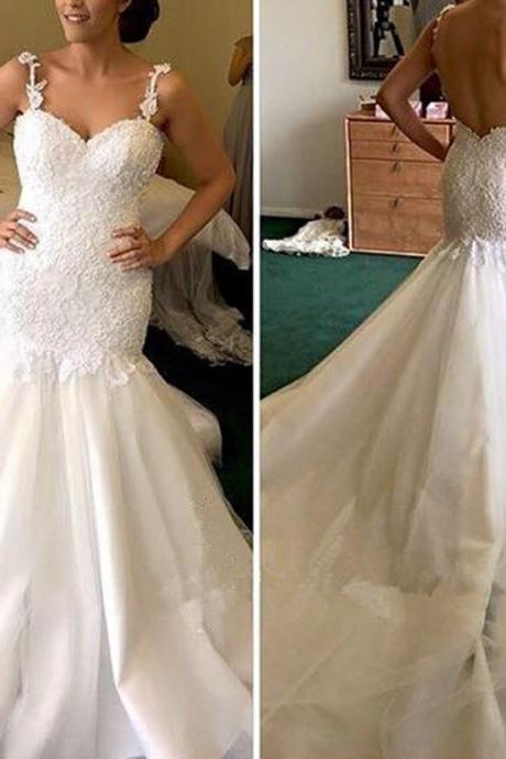 Wedding Dresses,Lace Wedding Gowns,Bridal Dress,Wedding Dress,Brides DressWedding Dresses,Wedding Gown,Princess Wedding Dresses Mermaid Wedding Dress with Spaghetti Straps