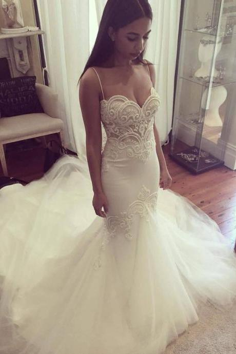 Wedding Dresses,Lace Wedding Gowns,Bridal DressWedding Dresses,Wedding Gown,Princess Wedding Dresses Mermaid Wedding Dress with Spaghetti Straps