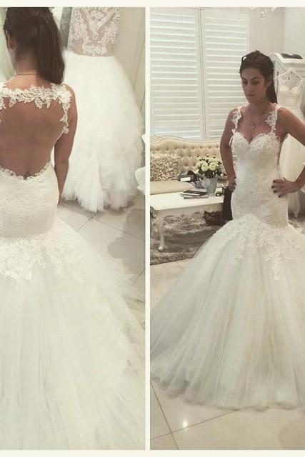 White Wedding Dresses,Mermaid Wedding Gown,Lace Wedding Gowns,Lace Bridal Dress,Backless Wedding Dress,Mermaid Brides Dress,Open Backs Wedding Gowns,Open Back Wedding Dress