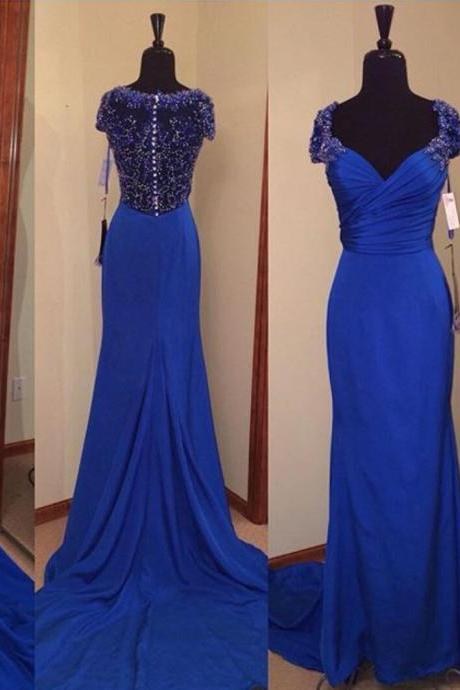 Royal Blue Prom Dresses,Royal Blue Prom Dress,Beaded Formal Gown,Beadings Prom Dresses,Evening Gowns,Formal Gown For Senior Teens