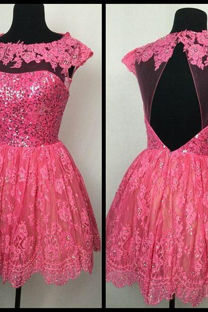 Homecoming Dress,pink lace homecoming dresses cap sleeves open back prom dresses short 2017 Homecoming Dress