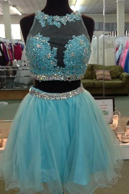 turquoise lace appliques organza ruffles short prom gowns 2017 two piece homecoming dress