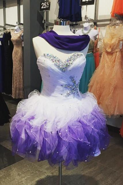 Homecoming Dress,Beaded Sweetheart Organza Ruffles Ombre Prom Dress Short 2017 Sexy Homecoming Dress