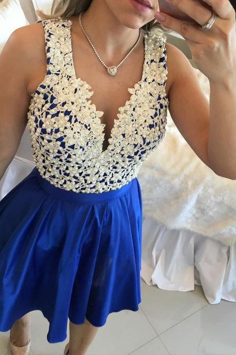 Homecoming Dress,Short Homecoming Dresses,Royal Blue V Neck Sheer Back Homecoming Dress,Beautiful Prom Gown,Cocktail Dress
