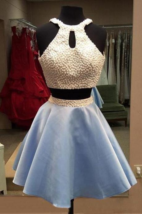 Light Sky Blue Homecoming Dresses,Tulle Homecoming Dress,2 Pieces Prom Dress,Two Piece Cocktail Dresses,Sweet 16 Gowns