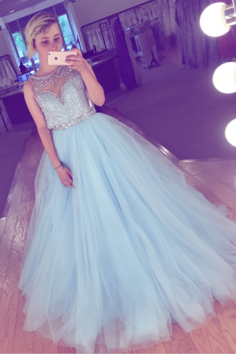 Light Blue Tulle Beaded Prom Dresses,A-line Elegant Evening Dresses,Charming Prom Gowns,Pincess Prom Dress,Party Dresses,Prom Dresses 2017,Cute Dresses