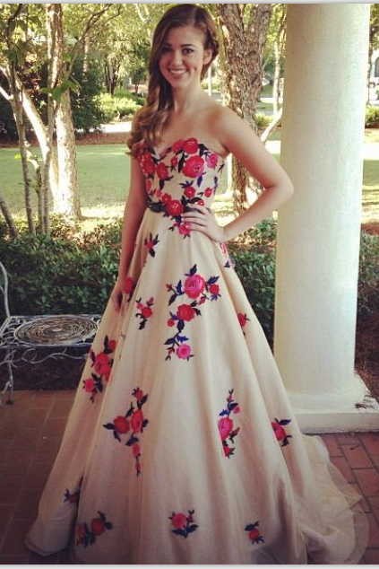 Lace Up High Low Prom Dresses With Flower,Modest Prom Dresses For Teens,Strapless Party Dresses,Prom Gowns,Simple Graduation Dresses