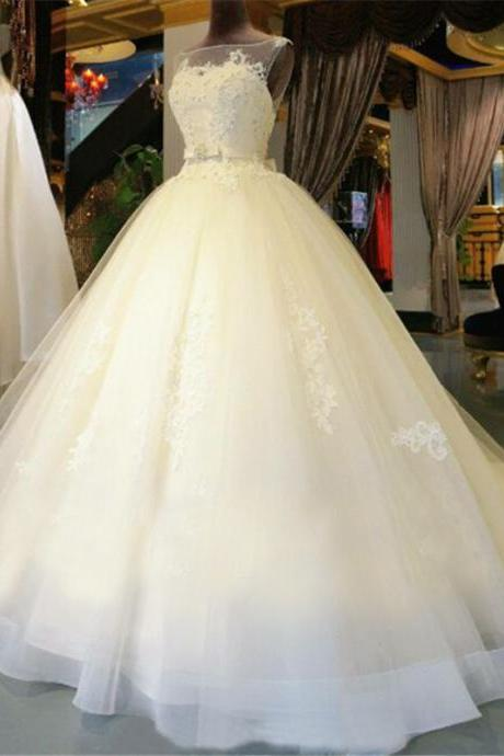 Lace Appliques Bateau Neck Sleeveless Floor Length Tulle Wedding Gown Featuring Bow Accent Belt