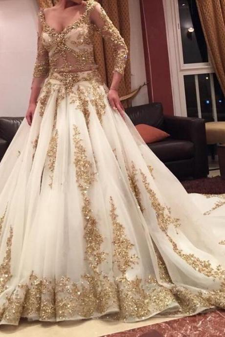 Gold Lace Appliqués Plunge V Long Mesh Sleeves Floor Length Tulle Wedding Gown Featuring Train