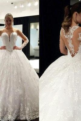 Lace Appliqués Long Mesh Sleeves Sweetheart Floor Length Tulle Wedding Gown Featuring Illusion Open Back