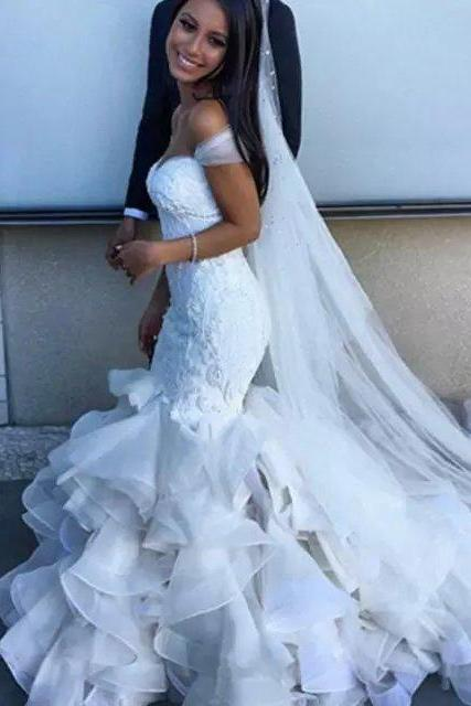 Sexy mermaid sheath wedding dress, sweetheart style of bride dress, lace Lace-up wedding dress custom