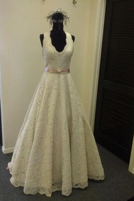 Lace Plunge V Sleeveless Floor Length A-Line Wedding Dress Featuring Beaded Embellished Belt
