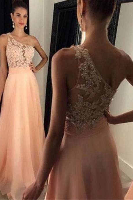 Charming Prom Dress,Chiffon Prom Dress,One-Shoulder Prom Dress,Appliques Evening Dress