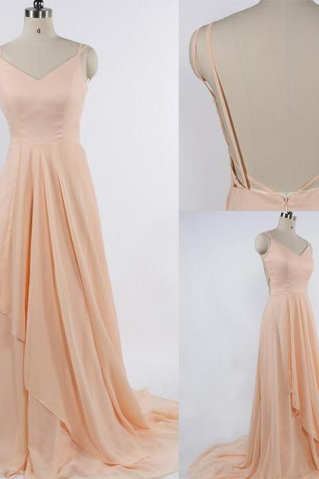 Charming Prom Dress,Chiffon Prom Dress,Spaghetti Straps Prom Dress,V-Neck Evening Dress, Formal Occasion Dresses,Formal Dress
