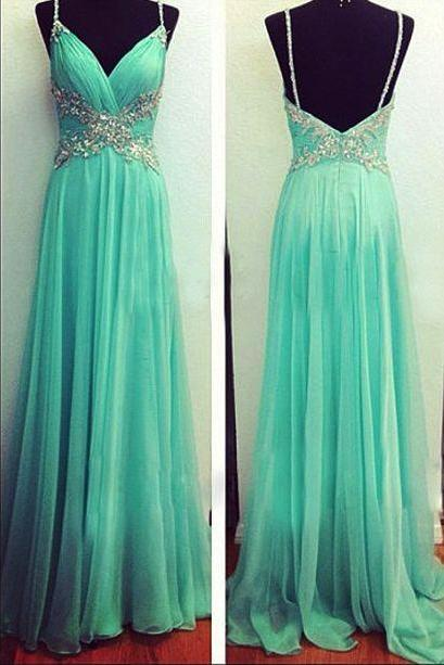 Charming Prom Dress,Chiffon Prom Dress,Beading Prom Dress,Spaghetti Straps Prom Dress