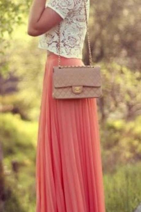 Fashion Street Style Skirt,Tulle Skirt,Charming Women Skirt,Spring Autumn Skirt ,Long Skir