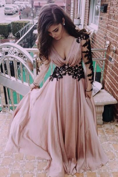 Sexy Prom Dress,Long Sleeve prom Dress,Appliques Prom Dress,Chiffon Prom Dress,V-Neck Prom Dress