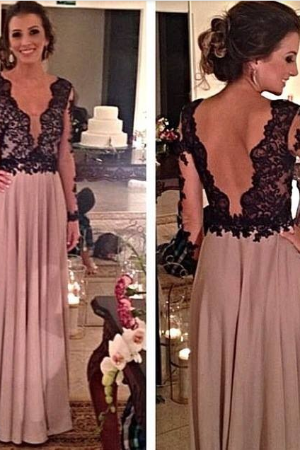 Charming Prom Dress,V-Neck Prom Dress,A-Line Prom Dress,Long Sleeve Prom Dress,Chiffon Prom Dress,Backless Prom Dress
