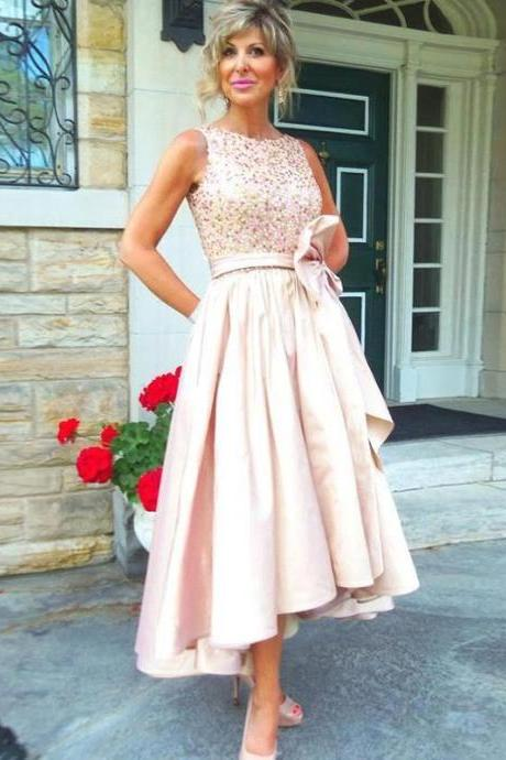 Hot Sale Satin A-Line Mother Of The Bride Dresses Plus Size Sleeveless Beading Wedding Party Pant Suits vestido de madrinha Tea Length Mother of the Bride Dress Elegant Evening Party Dress