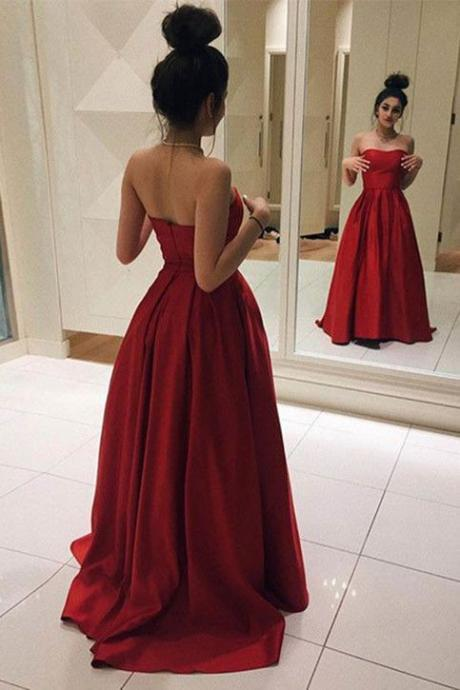 Gorgeous Red Strapless Prom Dress,A Line Satin Evening Gown,Long Party Dress