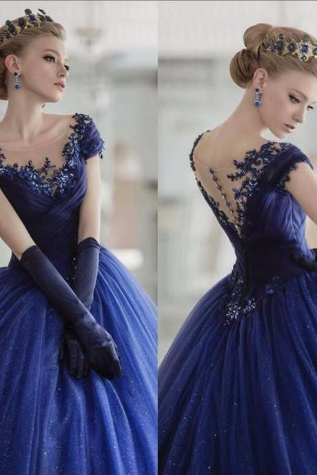 Sexy Prom Dresses Royal Blue Applique Ball Gown, 2017 Short Cap Sleeve Beading Pleat Scoop Neck Sheer Custom Made Party Dress