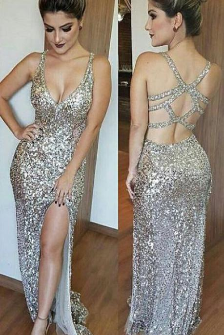 Luxurious Mermaid Long Prom Dress with Side Slit Evening Dress,Deep V-Neck Open Back Split Floor Length Beading Prom Dress,Silver Sequins Prom Dresses,Sexy Backless Prom Dress