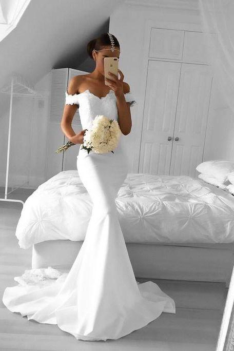 White Mermaid Prom Dress, Off the Shoulder Prom Dress, Lace Prom Dress, White Formal Dresses, Woman Evening Gown, White Gown