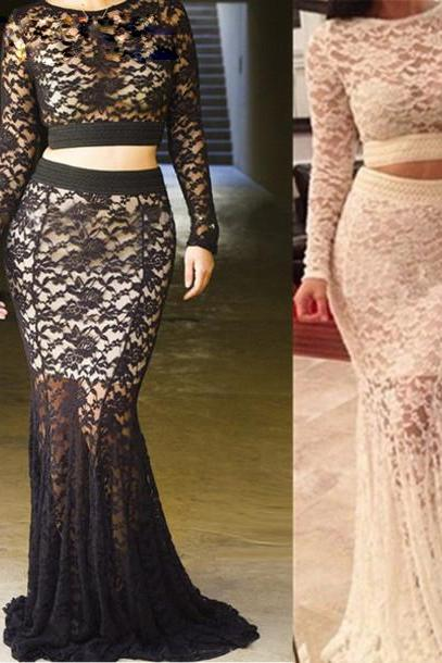 Custom Made Two-Piece Long Lace Mermaid Evening Dress, Prom Dress, Wedding Dress, Bridesmaid Dresses