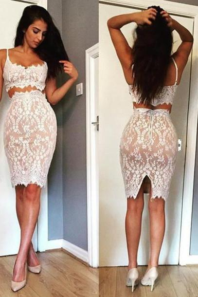 Pencil Prom Dress,Two Pieces Prom Dress,Lace Prom Dress,Fashion Homecoming Dress,Sexy Party Dress, New Style Evening Dress