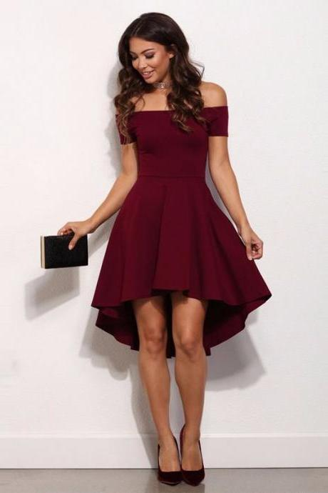 High Low Simple Style Cheap Burgundy Party Dress Sexy Off The Shoulder Cocktail Gowns 2017 Vestidos De Festa