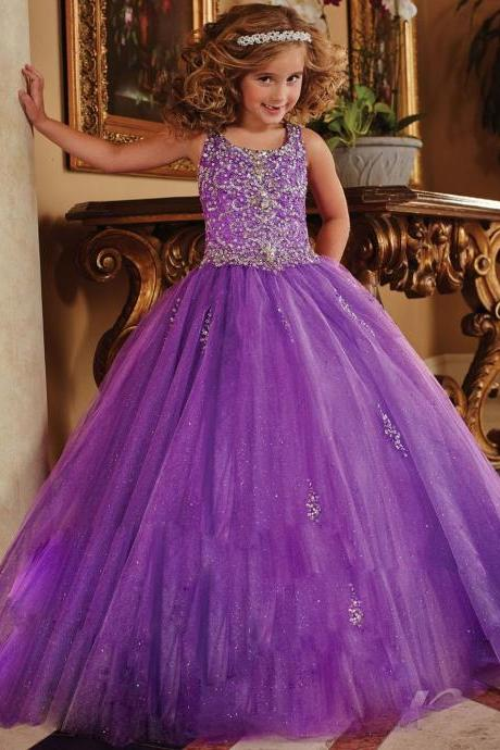 Ball Gown Flower Girl Dresses Scoop Sleeveless Beaded Sequins Purple Tulle Evening Gowns Kids First Communion Dresses