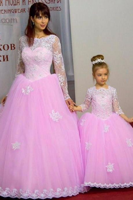 Wedding Dress,Custom Wedding Dress,Romantic wedding dress,Mermaid Wedding Dress,Lace wedding dress,Lace wedding dress,long sleeve wedding dress,high quality wedding dress,puffy wedding dress,charming wedding dress,Pink Pageant Dresses Appliques Ball Gown