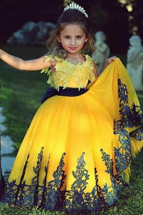 Flower Girl Dresses Luxury Ball Gown Party Pageant Communion Dress Little Girls Kid/Children Princess Dress for Wedding Kids