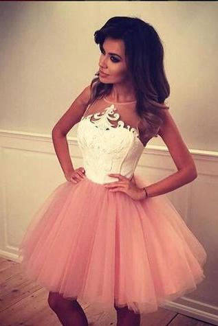 Charming Prom Dress,Sexy Party Dress,Tulle Prom Dresses,Short Prom Gown,Cute A-line Short Blush Pink Prom Dress, Puffy Tulle Prom Dress, Short Party Gown, Graduation Dresses, Homecoming Dress with White TopGraduation Dress