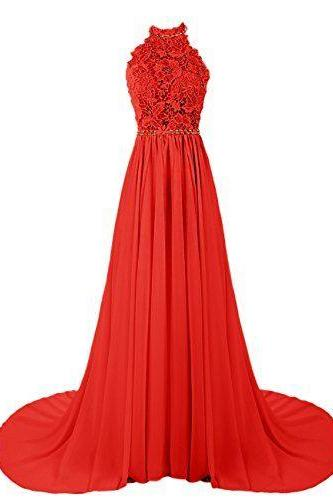 Charming Prom Dress,Halter Prom Dresses, Lace and Chiffon Prom Dress, Red Prom Dresses, Long Prom Dresses, Backless Prom Dress, Noble Prom Dress,Bridesmaid Wedding Dress, Evening Gowns