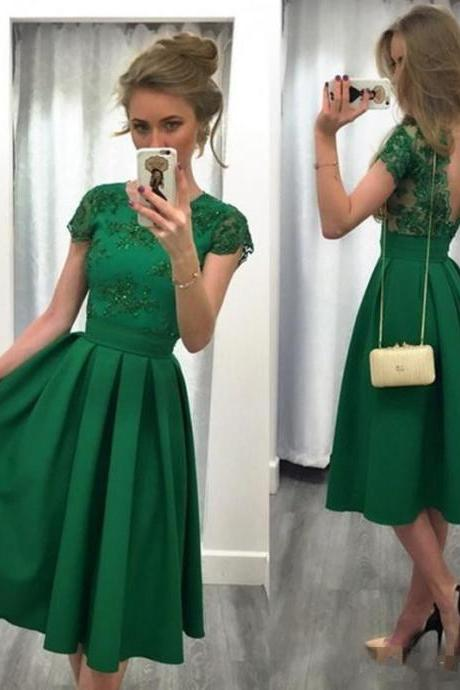 Charming Prom Dress,Green Prom Dresses,Satin Prom Dress,Short Sleeves Prom Dress,Sexy Lace Prom Dress,Short Homecoming Dress,Short Prom Dress,Prom Gowns,Party Women Dress,