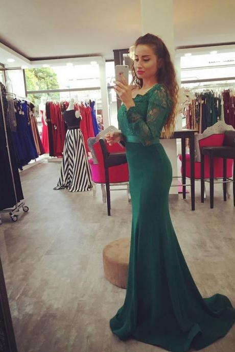 Dark Green Off The Shoulder Mermaid Prom Gown,Charming Prom Dress,Long Prom Dress,Party Dress,Women Dress For Party ,Cuatom Made Evening Prom Dress,Long Sleeve Prom Dress,Formal Dress,Bridesmaid Dress,Wedding Party Evening Dress