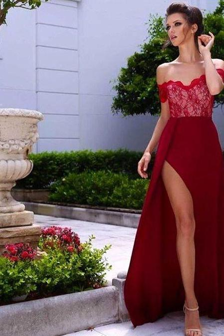 2017 Sexy Red Prom Dress,Charming Prom Dress,Lace Prom Gowns,Long Evening Dress,Party Dress,Prom Dress For Formal ,Women Dress,Sexy High Side Split Prom Dress, Romantic Off the Shoulder Lace Chiffon Prom Dress,