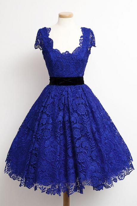 Charming ROYAL BLUE PROM Dress Lace EVENING Dress Short Sleeves Homecoming Dress Short Noble Graduation Dress