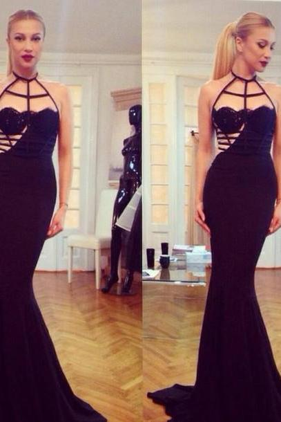 Halter Prom Dress,Mermaid Prom Dress,Black Prom Dress,Fashion Prom Dress,Sexy Party Dress, New Style Evening Dress