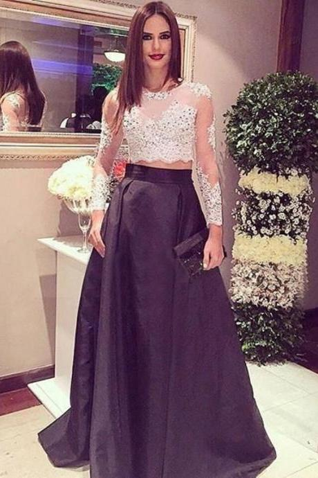 Stunning Two Piece Long Sleeves Crop Top 2017 New Designer Black Prom Dress with Lace Beading ,two pieces lace dress with beaded ,lace two pieces stain party dress,