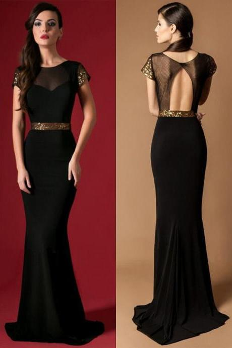 black lace backless dress,long black dress with open back ,Fashion Dresses Sexy Beaded Evening Party Dress Sexy Prom Dress Bridesmaid Dress Wedding Dress