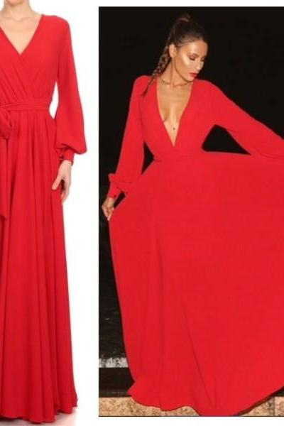 Red Prom Dress,Long Sleeve Prom Dress,Deep V Neck Prom Dress,Fashion Prom Dress,Sexy Party Dress, New Style Evening Dress