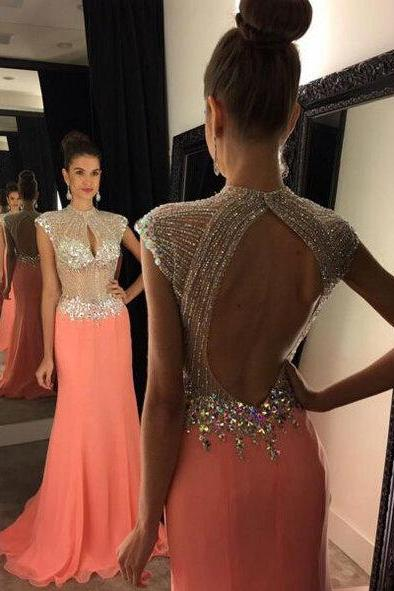 Beaded Bodice Orange Red Chiffon Prom Dresses,Backless Long Formal Dresses,Cap Sleeve Evening Dresses