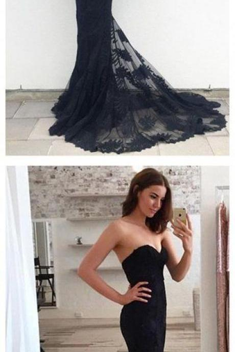 Sexy Prom Dress,Sleeveless Mermaid Prom Dresses,Black Backless Evening Dress,Long Dress